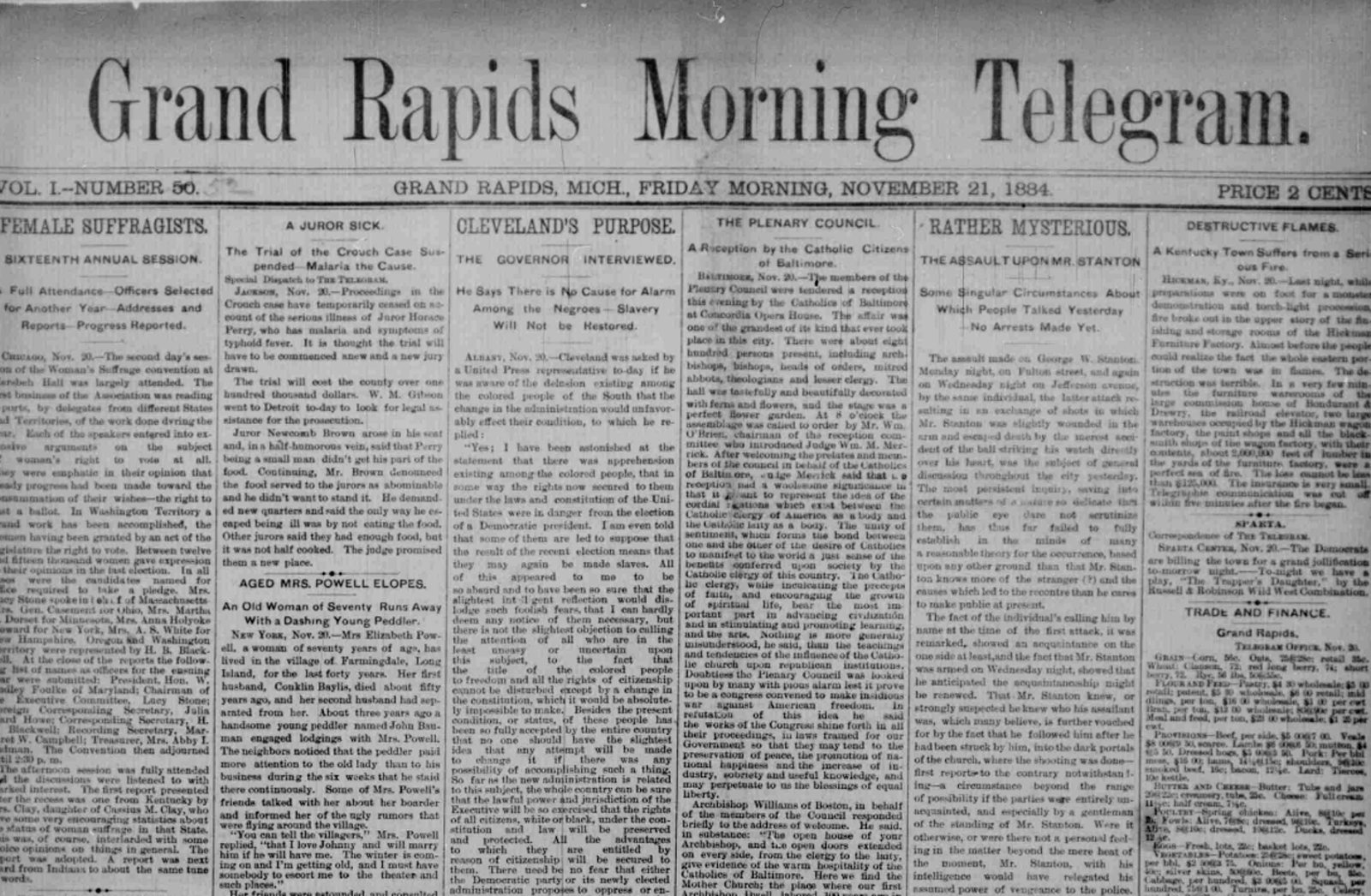 Early Grand Rapids News – Morning Telegram 1884-1886